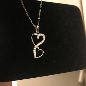 Jewelry - Double heart sterling silver pendant/chain